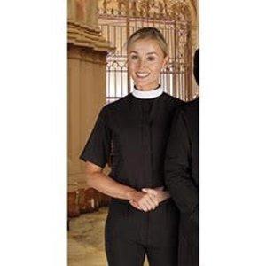 Women's Short Sleeve Clergy Shirt - Neckband Collar Black: Size 14