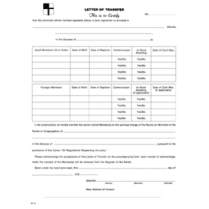 Three-Part Letter of Transfer and Acceptance -  Pack of 25