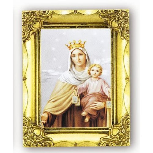 OUR LADY OF MT. CARMEL PRINT IN ANTIQUE GOLD FRAME