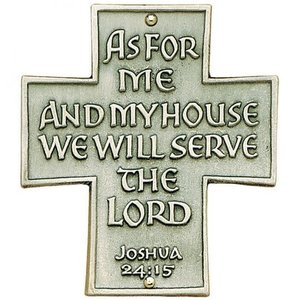 """""""AS FOR ME AND MY HOUSE"""" DOOR SIGN PEWTER"""