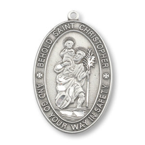 """PEWTER ST. CHRISTOPHER OVAL PENDANT 1 1/16"""""""