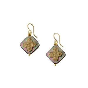 Bronze Tiny 4-Way Cross Pearl Earrings by Andrea Barnett