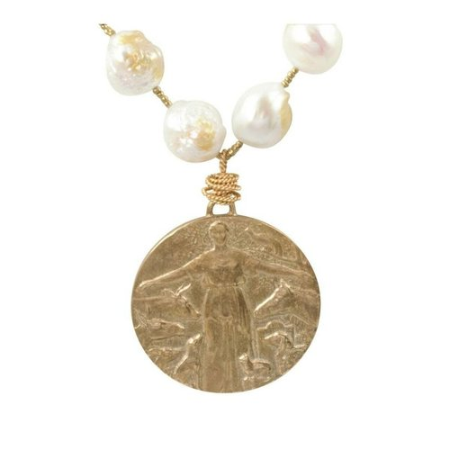 Baroque Pearls Animal Protection Medal Necklace by Andrea Barnett