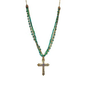 Bronze & Sterling Cross on Turquoise Gold & Silver 4 Strand Necklace by Andrea Barnett