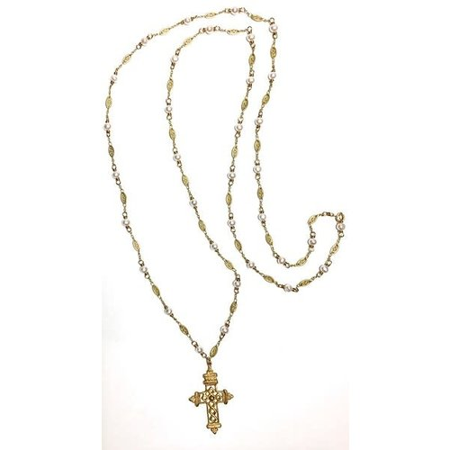 """Bronze Gothic Cross Pearl Stations 38"""" Gold Necklace by Andrea Barnett"""