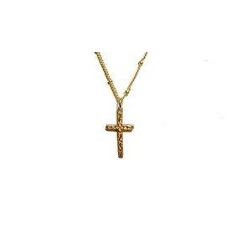 Small Bronze Cross on Dot Chain Necklace by Andrea Barnett