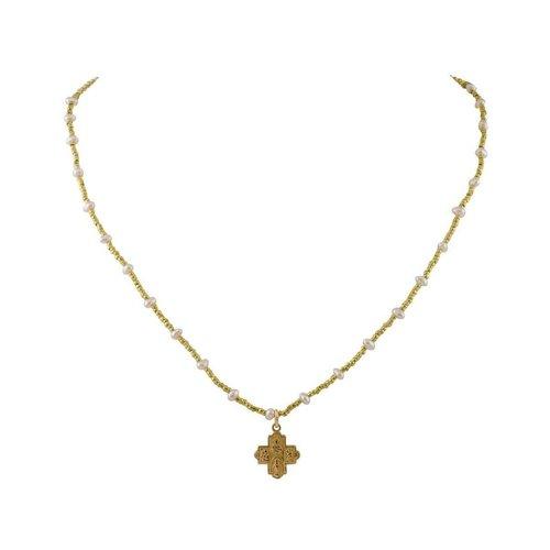 Tiny 4-Way Cross Gold Heishi Pink Pearls Necklace by Andrea Barnett