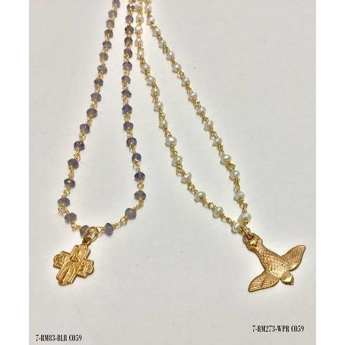 Tiny 4-Way Cross Iolite Gold Necklace by Andrea Barnett