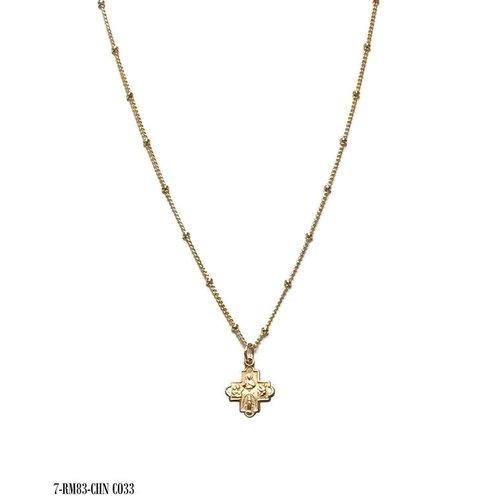 Tiny 4-Way Cross Gold Dot Necklace by Andrea Barnett