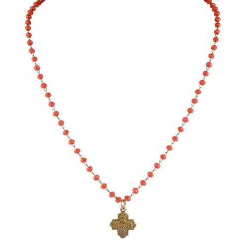 Tiny 4-Way Cross Orange Glass Necklace by Andrea Barnett