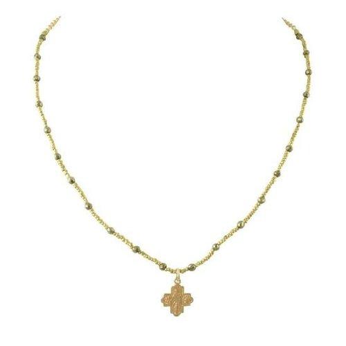 Tiny 4-Way Cross Pyrite Heishi Necklace by Andrea Barnett