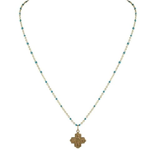 Tiny 4-Way Cross Turquoise Gold Necklace by Andrea Barnett
