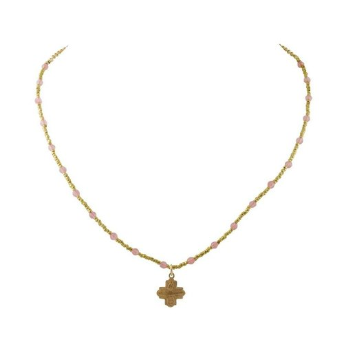 Tiny 4-Way Cross Pink Quartz Heishi Necklace by Andrea Barnett