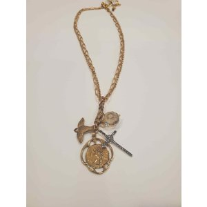 3-Tier 4-Way Celtic & Dove Pearl Moonstone Necklace by Andrea Barnett