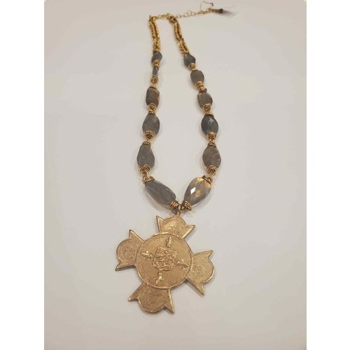 Wired Labradorite Vintage Argentine Medal Necklace by Andrea Barnett