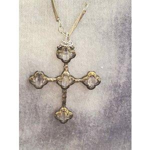 Swarovski Cross Oxidized Silver Bar Necklace by Andrea Barnett