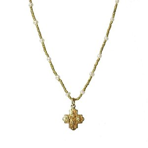 Tiny 4-Way Cross Pearl Heishi Necklace by Andrea Barnett