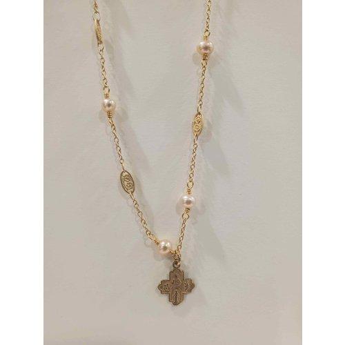 Tiny 4-Way Cross White Pearl Necklace by Andrea Barnett