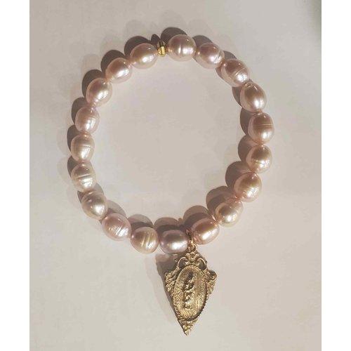 Pink Pearl Miraculous Medal Bracelet by Andrea Barnett