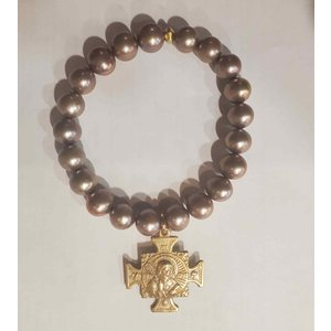 Rose Pearl St Benedict Medal Bracelet by Andrea Barnett