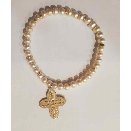 Champagne Pearl 4-Way Cross Bracelet by Andrea Barnett