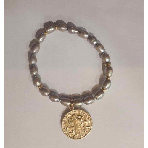 Gray Pearl St Francis Bracelet by Andrea Barnett