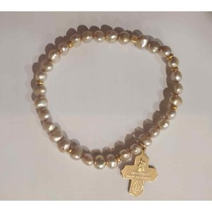 Champagne Pearl 5-Way Cross Bracelet by Andrea Barnett