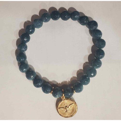 Confirmation Dove Blue Agate Bracelet by Andrea Barnett
