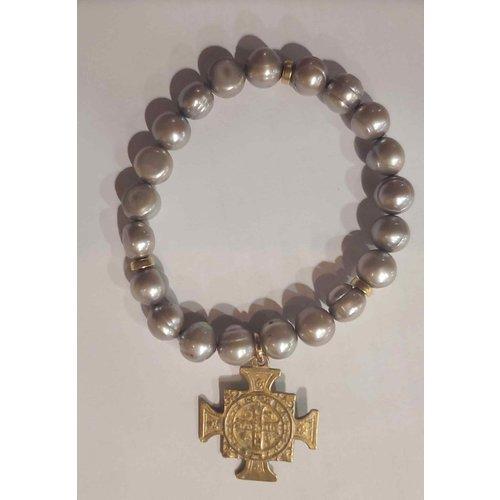 Green Pearl Gold Crucifix Bracelet by Andrea Barnett