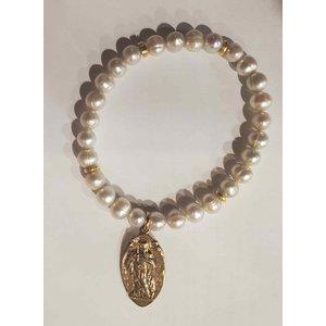 Gold Pearl St Genevieve Bracelet by Andrea Barnett