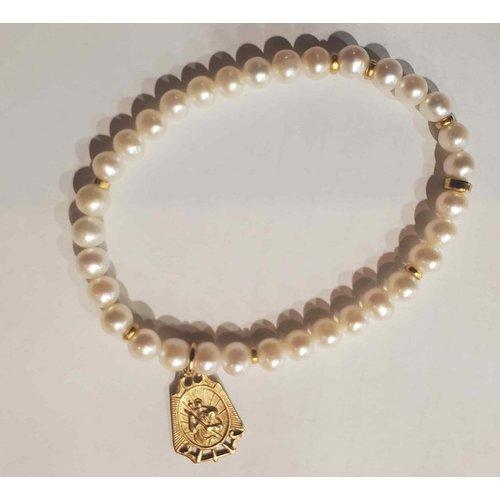 White Pearl St Michael Bracelet by Andrea Barnett