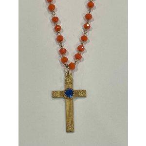 Vintage Cross Blue Stone Orange Glass Necklace by Andrea Barnett
