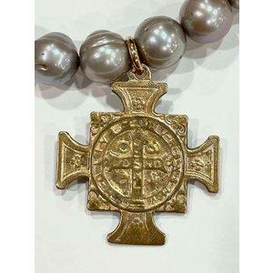 Silver Pearl St Benedict Bracelet by Andrea Barnett