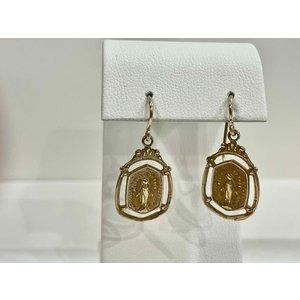 Bronze Miraculous Medal Earrings by Andrea Barnett