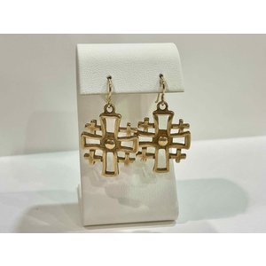 Bronze Jerusalem Cross Earrings  by Andrea Barnett