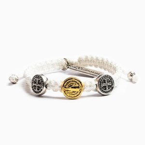 MY SAINT MY HERO First Holy Communion Bracelet 3 medal Mixed- White