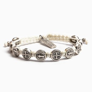 MY SAINT MY HERO Blessing Bracelet w/ 10 medals - Silver- White