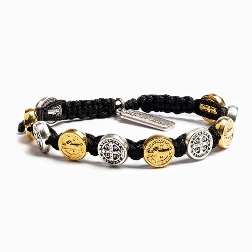 MY SAINT MY HERO Blessing Bracelet w/ 10 medals - Mixed- Black
