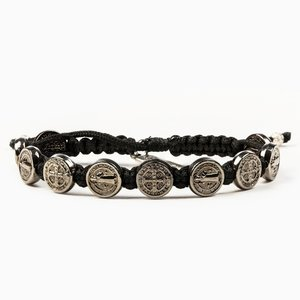 MY SAINT MY HERO Blessing Bracelet w/ 10 medals - Jet Black/Rose Gold- Black
