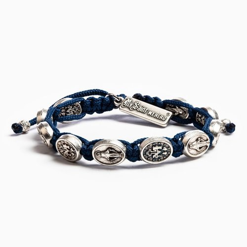 MY SAINT MY HERO Miraculous Mary Blessing Bracelet w/ 10 medals [5] Silver- Navy