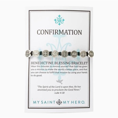 MY SAINT MY HERO Confirmation Blessing Bracelet w/ 10 medals - Silver- Black