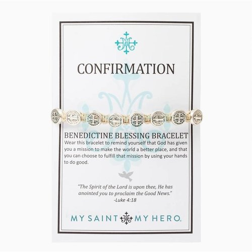 MY SAINT MY HERO Confirmation Blessing Bracelet w/ 10 medals - Tan- Silver