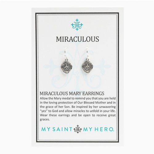 MY SAINT MY HERO Miraculous Mary Earrings - Silver
