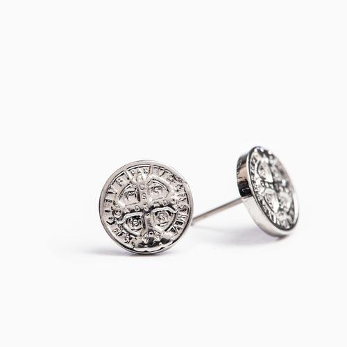 MY SAINT MY HERO Benedictine Stud Earrings - Silver