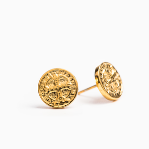 MY SAINT MY HERO Benedictine Stud Earrings - Gold