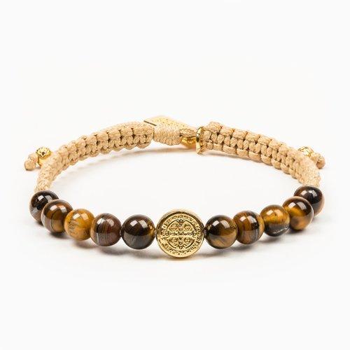 MY SAINT MY HERO Wake Up & Pray Meditation Bracelet - Gold Cream- Tiger's Eye