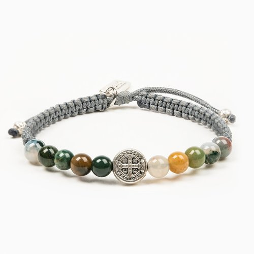 MY SAINT MY HERO Wake Up & Pray Meditation Bracelet - Silver, Mixed Agate
