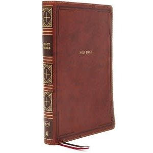 KJV, THINLINE BIBLE, GIANT PRINT, LEATHERSOFT, BROWN, THUMB INDEXED, RED LETTER, COMFORT PRINT