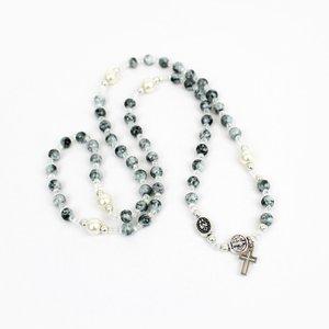MY SAINT MY HERO Miracles Rosary Wrap Bracelet - Grey/Crystal/Pearl