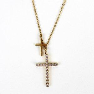 MY SAINT MY HERO Walk by Faith 2 Cross Necklace - Gold
